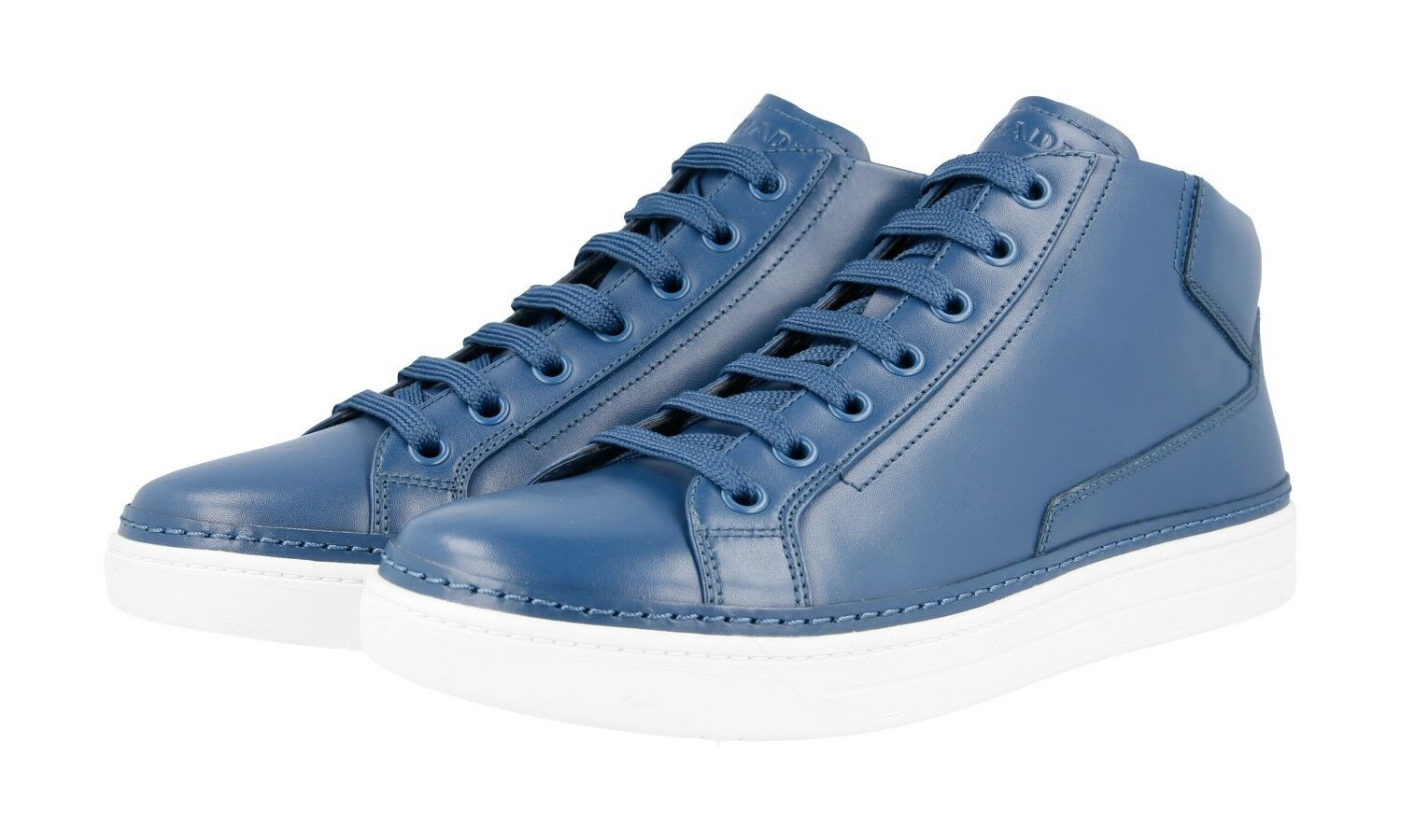 AUTH LUXURY PRADA HIGH TOP SNEAKERS SHOES 4T2863 blueE NEW 8 42 42,5