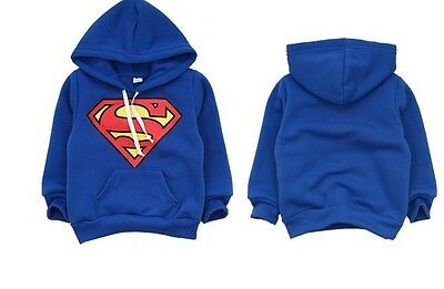 NEW Toddler Boys Superman super hero Long Sleeve Hoodie Top Size 1.2.3.4.5.6