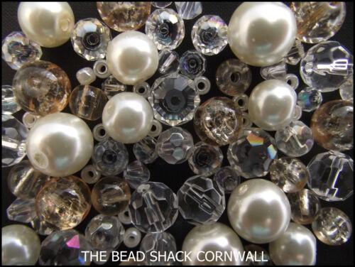 Mélange Perles Verre bracelet making kit-Ivoire /& clair-champagne et diamants