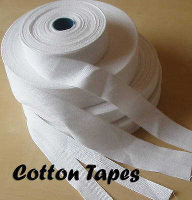 COTTON TAPE for BUNTING APRON ETC ~FULL 50 METER ROLL ~ VARIOUS WIDTHS ~