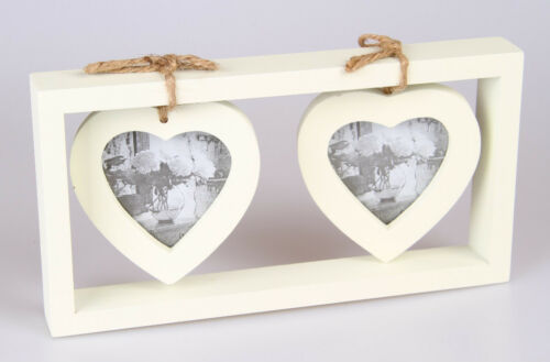 Photo Frame Shabby Chic Double Cream Wooden Hanging Heart Picture
