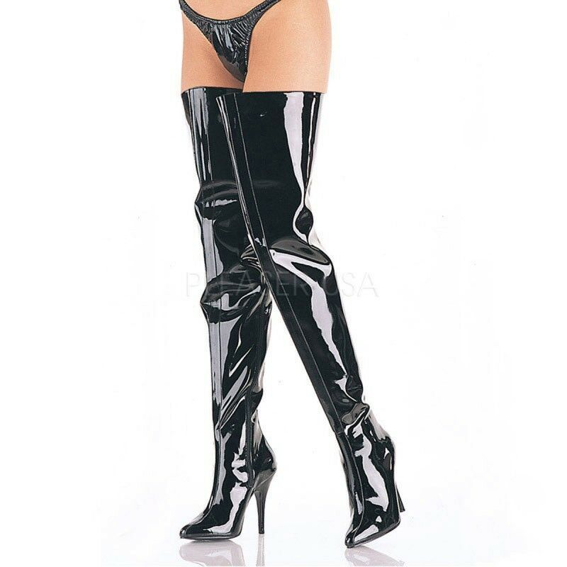 PleaserUSB extra lange Overknee-Stiefel Seduce-4010 Lack schwarz