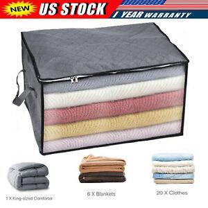 US Large Anti Dust Clothes Storage Bag Quilt Blanket Storage Sort Home Organizer