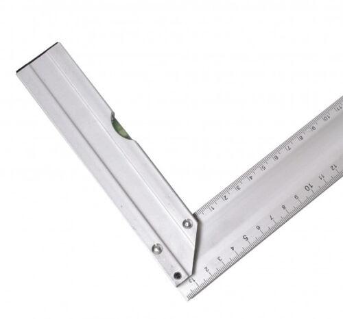 Equerre de menuisier en  Aluminium 250 mm  Avec niveau à bulle  Angle 90 et 45°