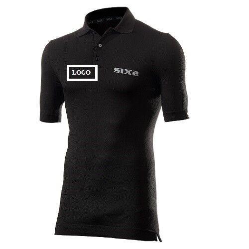 Maglia Polo Maglietta uomoiche corte bicicletta Bici logo person. SIXS NERO  POL S