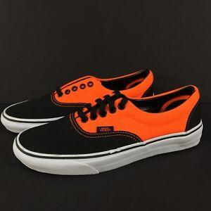 b0dc2cc3ad Vans Era Unisex Skate Shoes Trainers 2 Tone Neon Orange Black Mens ...