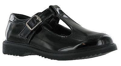Patente T-Bar Niñas Negro regreso a la Escuela Zapatos Inteligente Formal Hebilla Correa UK 11-3