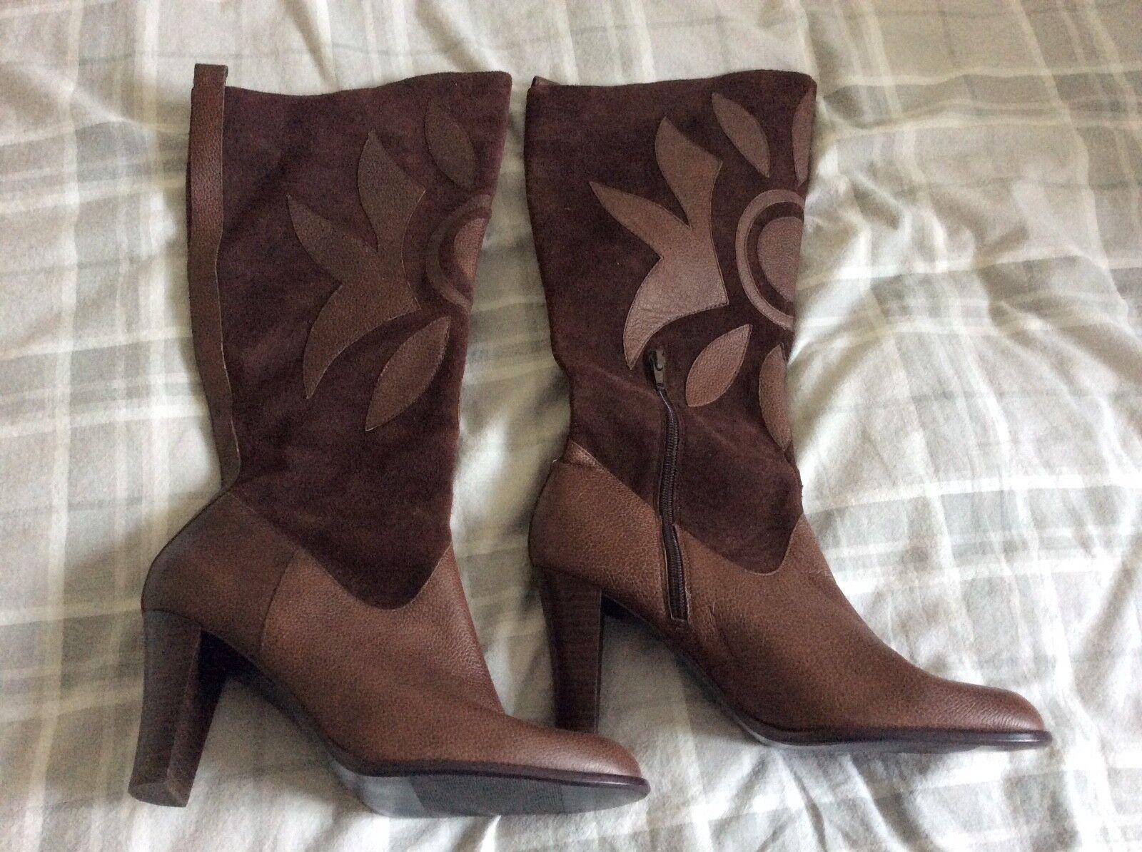 Marks and Spencer apliques de cuero y botas de gamuza marrón-tamaño 7