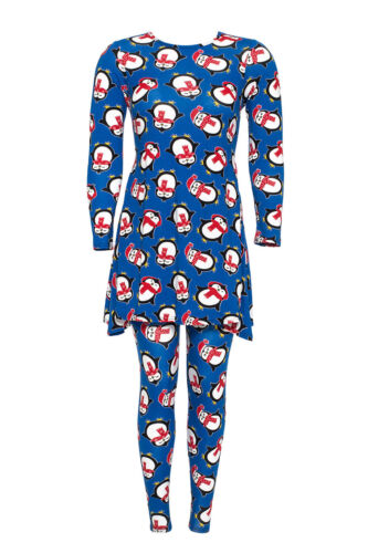 Ladies Top Legging 2 in 1 Christmas Women Penguin Print Swing Plus Size Nouvelle