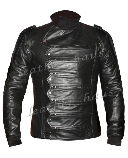 Bucky Barnes Genuine Leather Captain America Winter Soldier Jacket & Vest #504B-