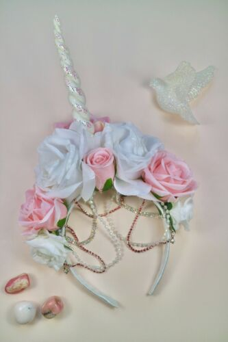Rose Blanc Fleur Rose Unicorn Horn Crown Head Piece Band Choochie Choo Boho