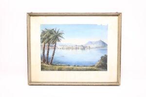 Aquarelle-Laggo-Maggiore-Isola-Bella-1953-signiert