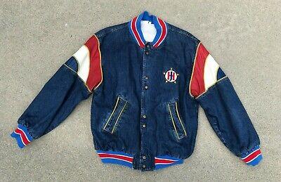 Gehorsam Jeff Hamilton Herren Vintage Vtg 80er Jahre Retro Leder Jeansjacke | Groß
