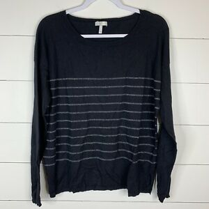 Joie-Womens-Black-Metallic-Size-Large-Long-Sleeve-Boat-Neck-Pullover-Sweater