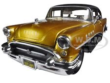 """1955 BUICK CENTURY GOLD/BLACK """"OUTLAWS"""" 1/26 DIECAST BY MAISTO 32507"""