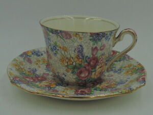 Royal Winton Grimwades Chintz Birds and Tulips Demitass Cup and Saucer