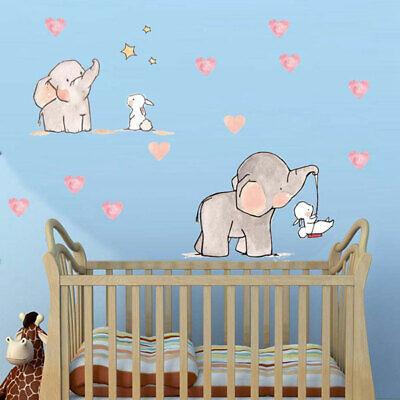 Elephant Rabbit Wall Sticker Nursery Decor Art Decal Mural Boys S Baby Gift Ebay