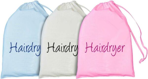 1 X Hairdryer Design Cotton Drawstring Storage Bag - 3 Colours - Hair Stylist Volume Groot