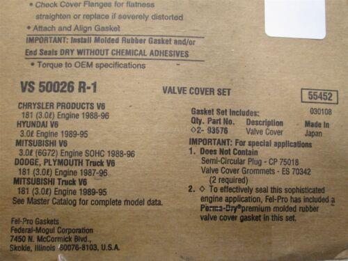 NEW Fel-Pro Valve Cover Gasket Set VS50026R-1 for Hyundai Chrysler 3.0 V6 88-96