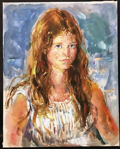 ZWPT447 100/% hand-painted abstract mude girl portrait art oil painting on canvas