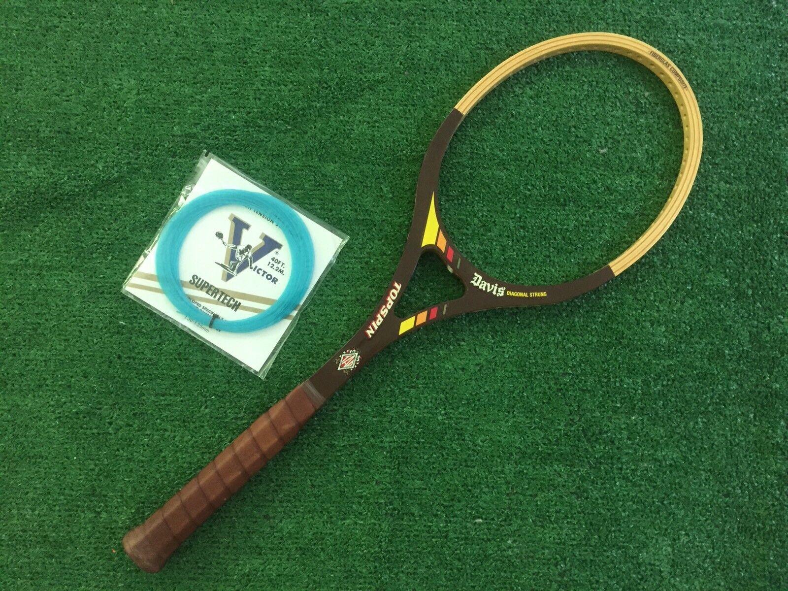 Pantalla de Davis Topspin diagonal Madera Tenis Tenis Tenis Raqueta De Madera Vintage 4 1 2 Nuevo 000402