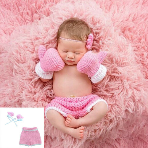 Neugeborenes Baby Hosen Knit Crochet Boxing Gloves Outfits Set Photography Prop