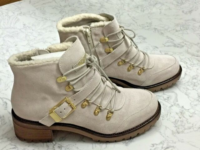 bc5e4e5d0f Sporto Katie Lace Up Winter White WATERPROOF Suede Ankle Bootie 12W NIB $120