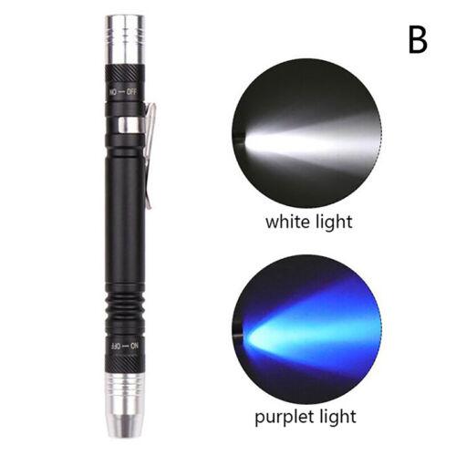 2 in 1 LED UV Flashlight Penlight pen clip Torch white Light 395nm Detector AADS