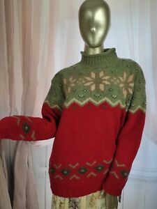 Chunky Wool Fair Isle Pattern Vintage Jumper Jacket Pullover Green Size Medium