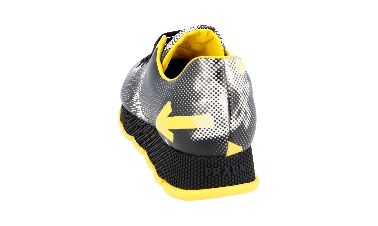 AUTH LUXURY PRADA SNEAKERS SNEAKERS SNEAKERS SHOES 1E654G BLACK YELLOW NEW 39,5 40 UK 6.5 53f4ef