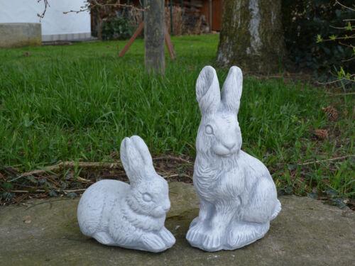 Massive Steinfigur Hase Motiv II sitzend Kaninchen Häschen Steinguss frostfest