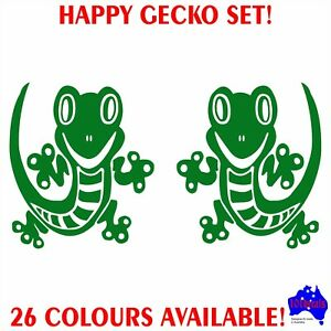 30cm HAPPY GECKO decal sticker set.Car,Carava<wbr/>n,Campervan,mo<wbr/>torhome,4x4,wi<wbr/>ndow!