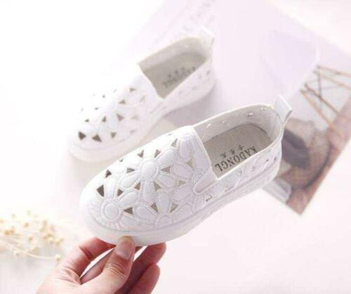 Kids Girls Women Hollow Out Flowers Slip On Loafers Casual Walking Shoes size