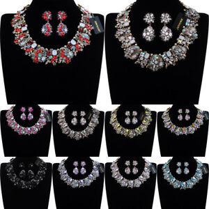 Fashion-Jewelry-Statement-Chain-Crystal-Chunky-Choker-Bib-Necklace-Earrings-Sets