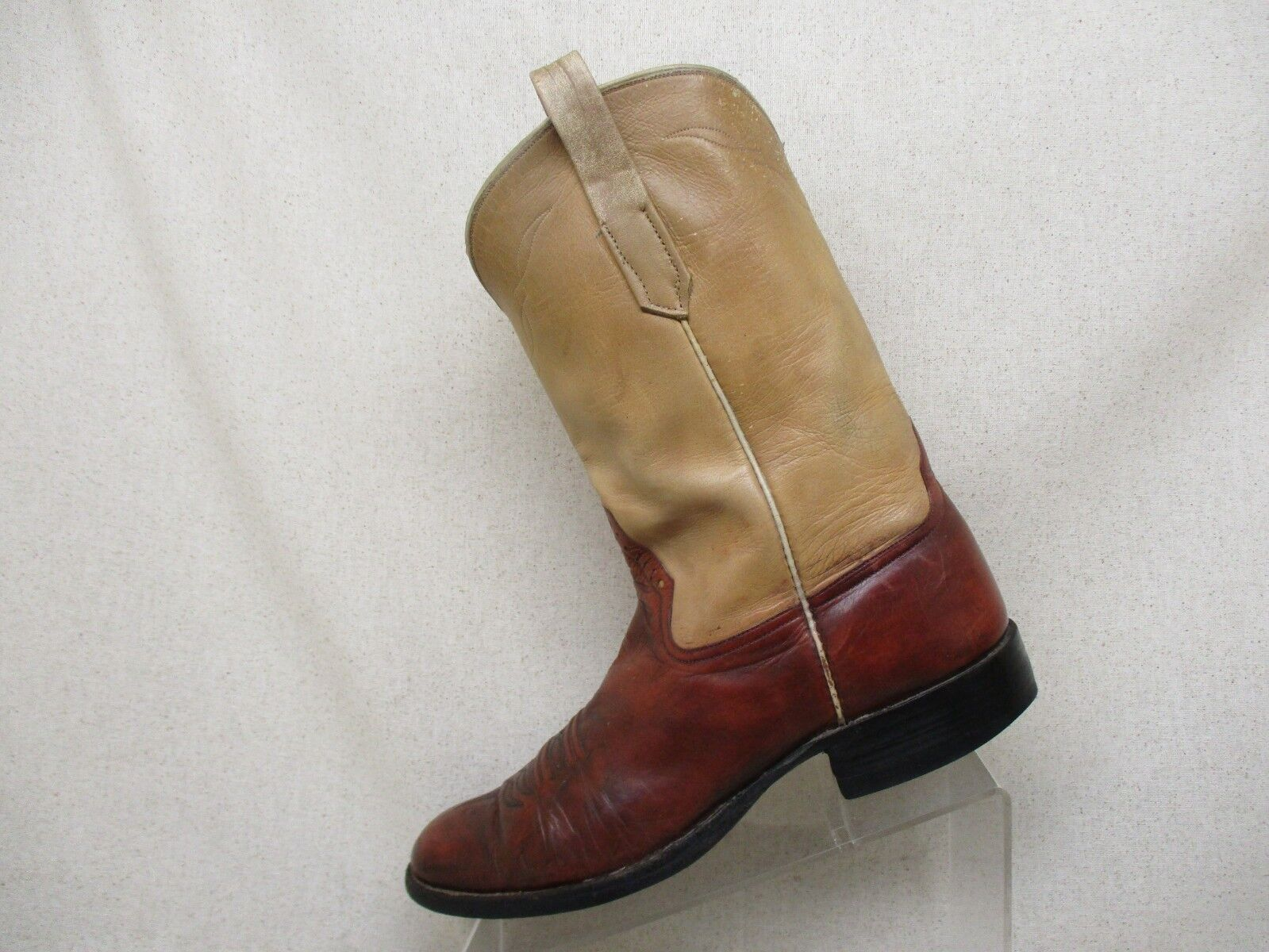 Rios of Mercedes Beige Maroon Leather Cowboy Western Boots Mens Size 10 B
