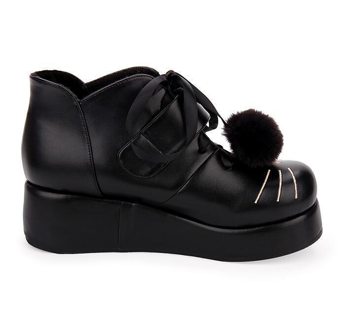 Zapatos De Tacos cuña para tobillo mujer Sweet Pompón Lolita botas al tobillo para con cordones forro de piel Y888 bd575a