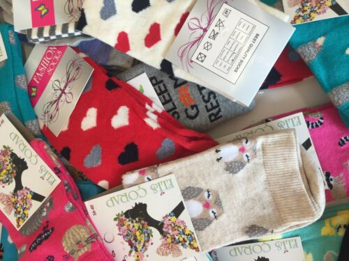 20 pairs luxury women/'s ladies design coloured socks cotton UK size 4-6    KSBY