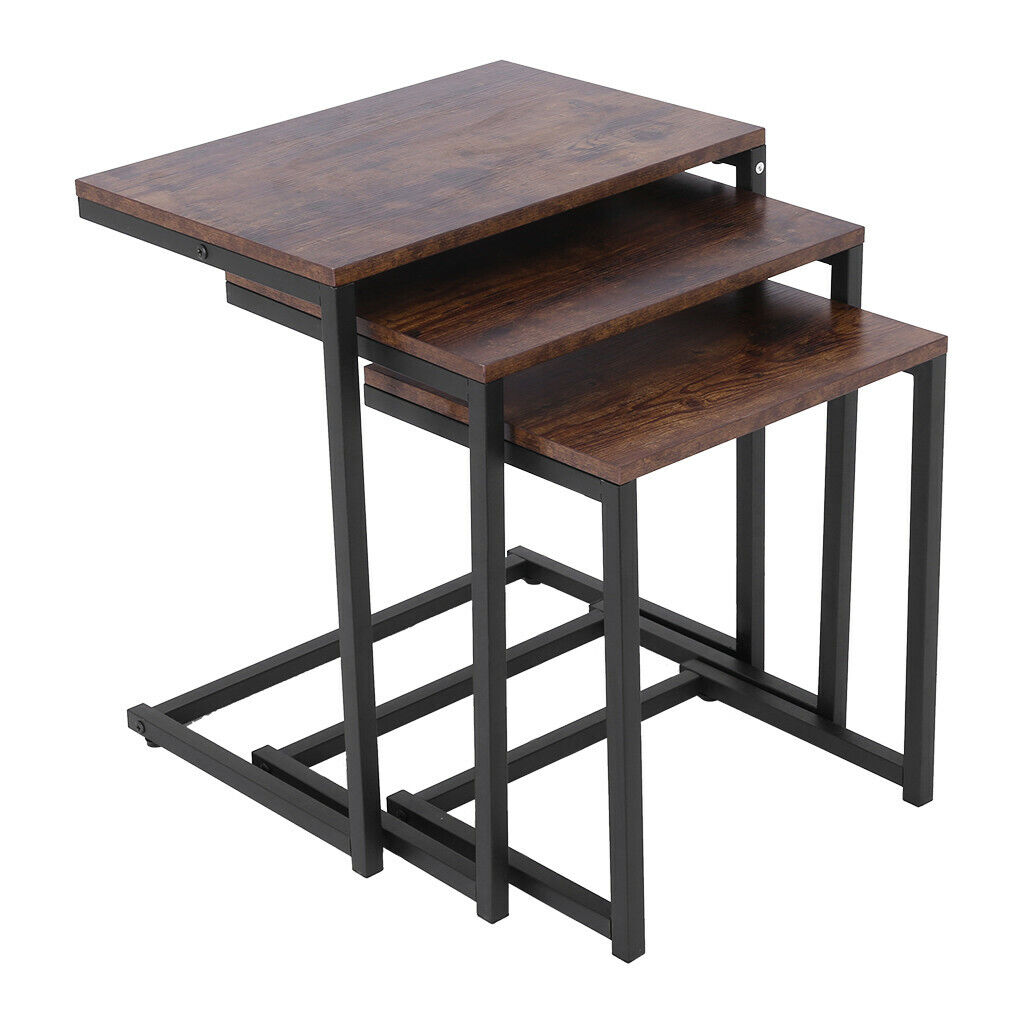 3PC Nesting Coffee End Side Table Set Living Room Modern Hom