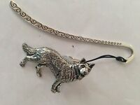 D2 German Shepherd Pattern bookmark with cord 3D English pewter charm