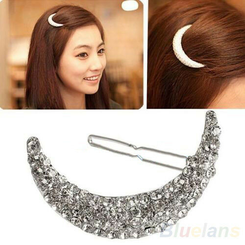 Nice Crystal Moon Rhinestone Hair Clip Bang Clip Headdress Hairpin Clamps B57U