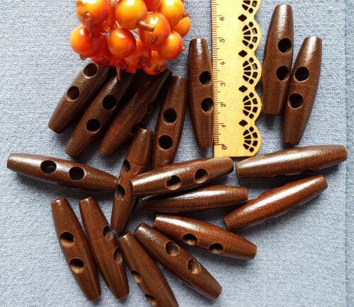 10 trozo de madera 50mm botones knebelknöpfe Toggle marrón oscuro abrigo botones oval abotónate