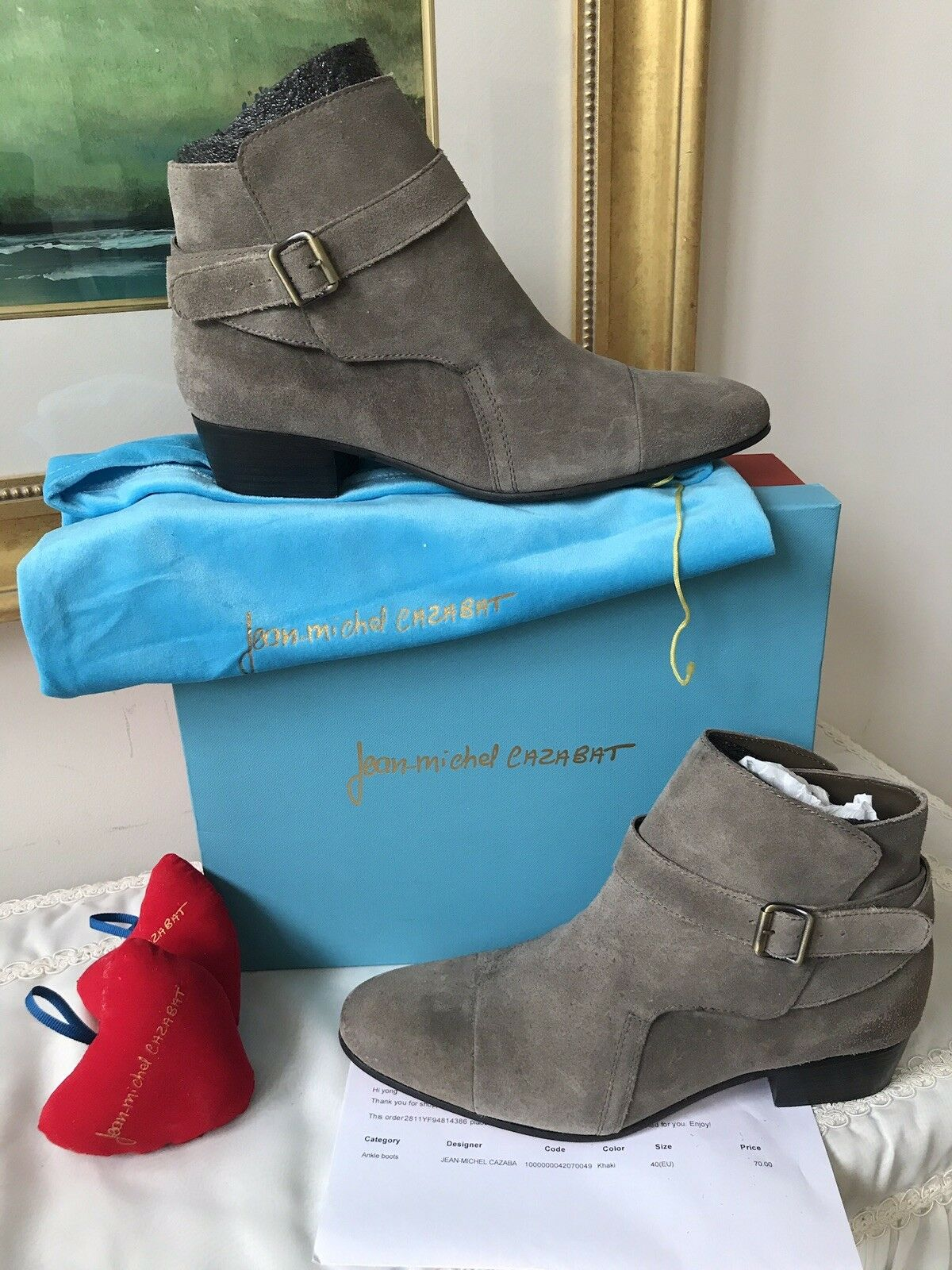 Jean-Michel Cazabat Khaki Suede Ankle Boots Womens Size