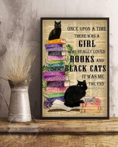 Once Upon A Time There Was A Girl Really Loved Books /& Black Cats Canvas Framed