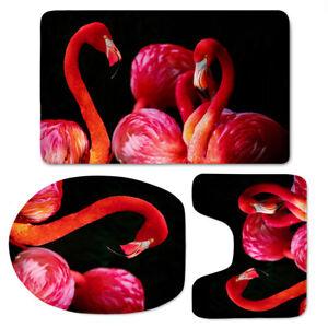 Flamingo-Design-Soft-Washable-Flannel-Toilet-Cover-Set-3pcs-Bathmat-Sink-Rug