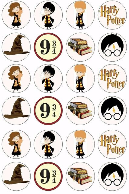24 x HARRY POTTER Cupcake Toppers HOGWARTS EDIBLE CAKE Wafer Rice Paper 4cm Cake