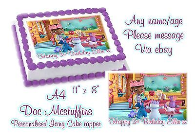 Magnificent Edible Personalised Doc Mcstuffins Birthday A4 Icing Cake Topper Funny Birthday Cards Online Amentibdeldamsfinfo