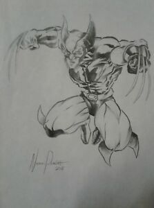 Wolverine-ORIGINAL-Pencil-ART-Comic-Pinup-Nathan-Parrish-Logan-Marvel-X-Men