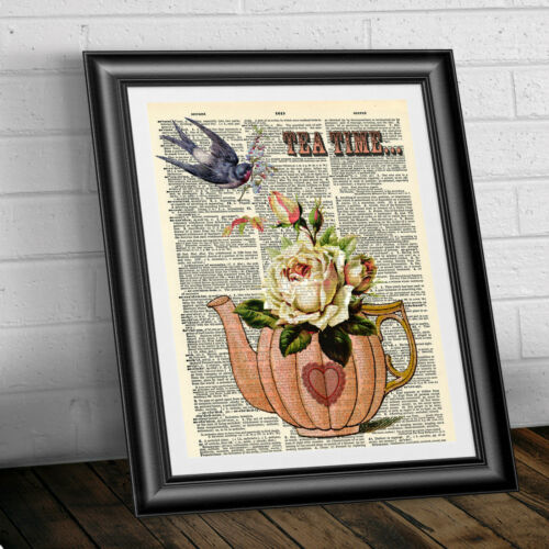 ART Print on DICTIONARY ANTIQUE BOOK PAGE Tea Time ORIGINAL GIFT PRESENT VINTAGE