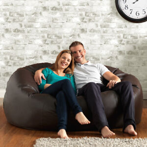 XXXL-BROWN-Faux-Leather-Bean-Bag-MONSTER-seat-Big-enough-for-two-adults-Huge