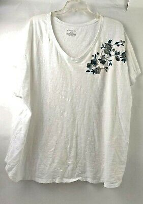Lane Bryant Plus Size Short Sleeve T Shirt Top White Lace Inset V Neck 26 28